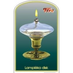 Dekorativní petrolejová lampa s mosazným stojanem (disk)